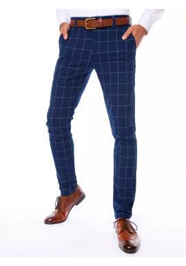 Pánské kostkované kalhoty v modré barvě