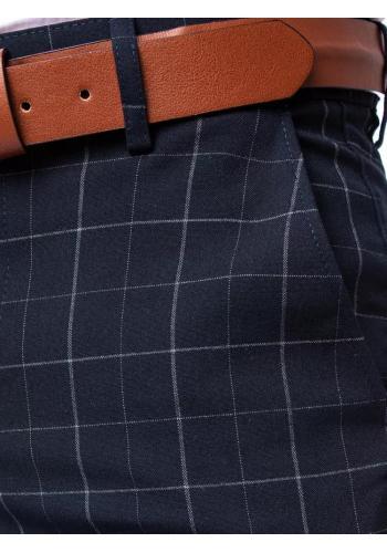 Elegantní pánské kostkované kalhoty tmavě modré barvy