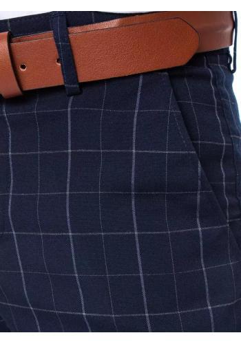 Pánské kostkované kalhoty v tmavě modré barvě