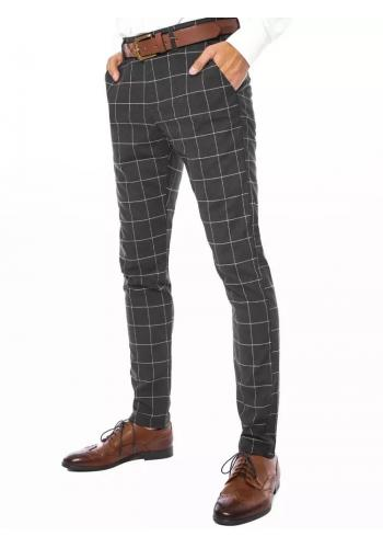 Tmavě šedé elegantní kalhoty s kostkovaným vzorem pro pány