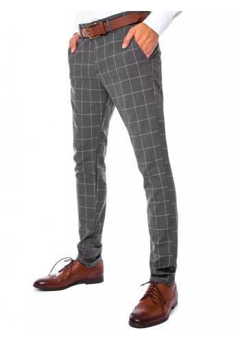 Šedé elegantní kalhoty s kostkovaným vzorem pro pány
