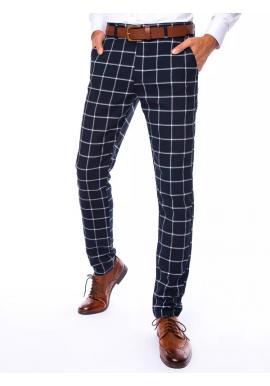 Elegantní pánské kalhoty tmavě modré barvy se vzorem