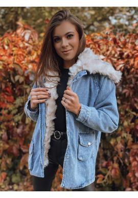 Dámská riflová oversize bunda s kožešinou v modré barvě