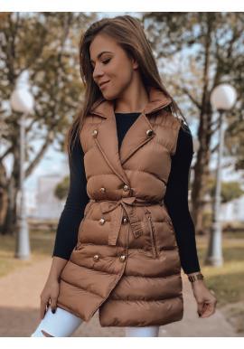 Dámská dvouřadá vesta s vázáním v pase v čokoládové barvě