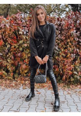 Černý dvouřadý kabát s páskem pro dámy