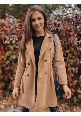 Dámský dvouřadý kabát s páskem v hnědé barvě