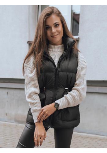 Prošívaná dámská vesta černé barvy s regulací v pase