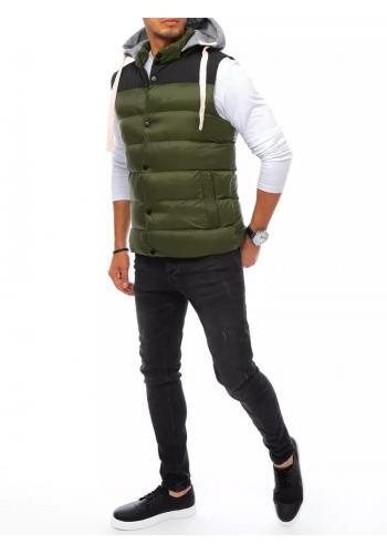 Pánská prošívaná vesta s teplákovou kapucí v zelené barvě