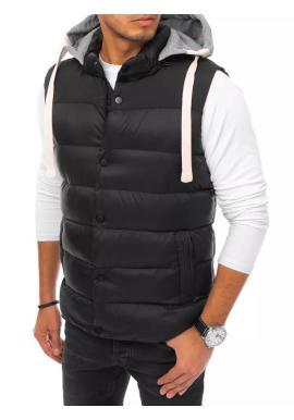 Prošívaná pánská vesta černé barvy s teplákovou kapucí