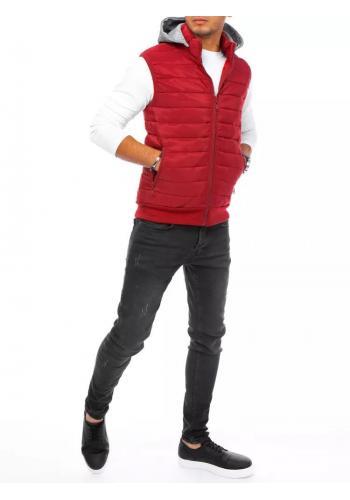 Bordová prošívaná vesta s teplákovou kapucí pro pány