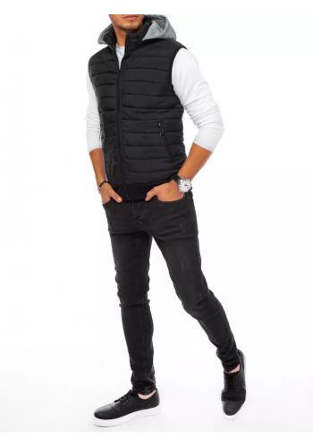 Pánské prošívané vesty s teplákovou kapucí v černé barvě