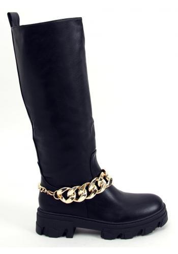Módní dámské kozačky černé barvy se zlatým řetízkem