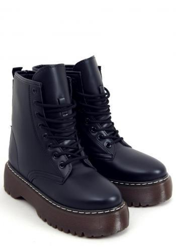 Dámské stylové boty s vysokou podrážkou v černé barvě