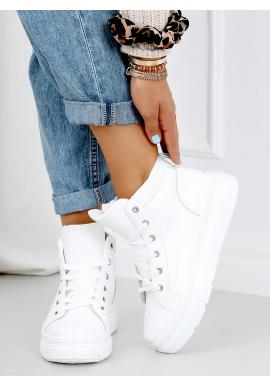 Kotníkové dámské tenisky bílé barvy s vysokou podrážkou