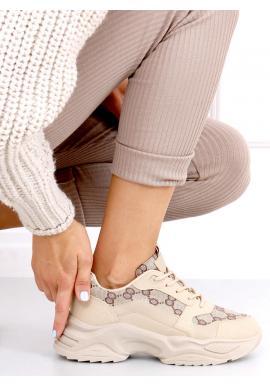 Khaki vzorované tenisky s vysokou podrážkou pro dámy