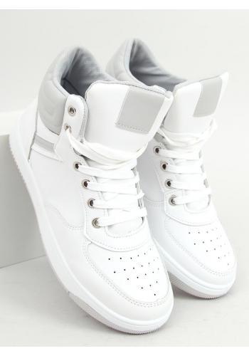Bílé kotníkové tenisky se šedými vložkami pro dámy