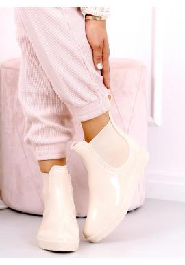 Béžové lakované gumáky s elastickými vložkami pro dámy