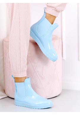 Dámské lakované gumáky s elastickými vložkami v světle modré barvě