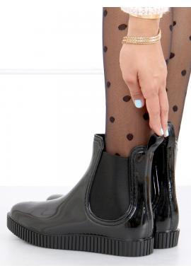 Černé lakované gumáky s vysokou podrážkou pro dámy