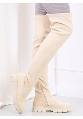 Semišové dámské kozačky nad kolena béžové barvy s vysokou podrážkou