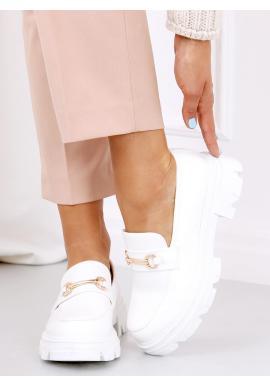 Dámské módní mokasíny s tlustou podrážkou v bílé barvě