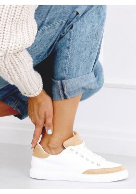 Klasické dámské tenisky bílo-hnědé barvy se semišovými vložkami