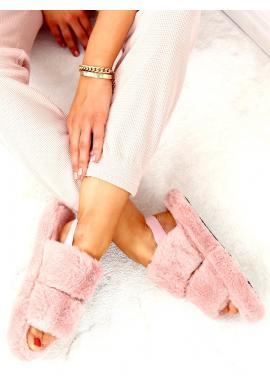 Dámské kožešinové papuče s gumičkou v starorůžové barvě