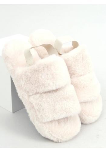 Krémové kožešinové papuče s gumičkou pro dámy
