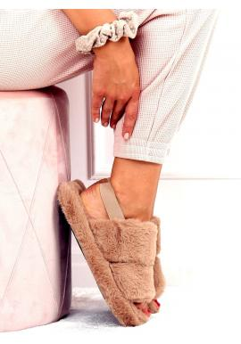 Dámské kožešinové papuče s gumičkou v tmavě béžové barvě