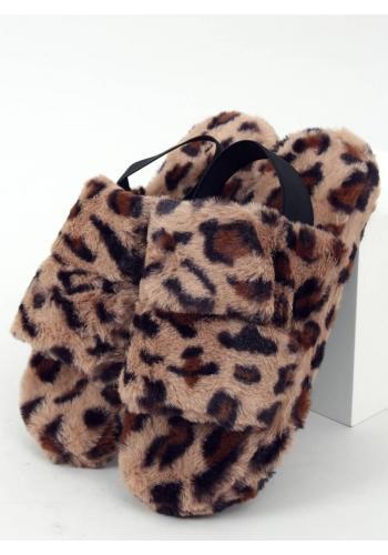 Leopardí kožešinové papuče s gumičkou pro dámy