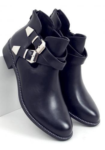 Černé kotníkové boty s přezkami pro dámy