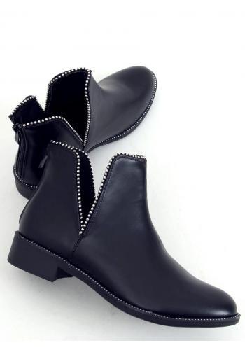 Dámské kotníkové boty s výřezy v černé barvě