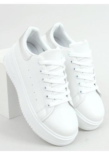 Bílo-stříbrné klasické tenisky s vysokou podrážkou pro dámy