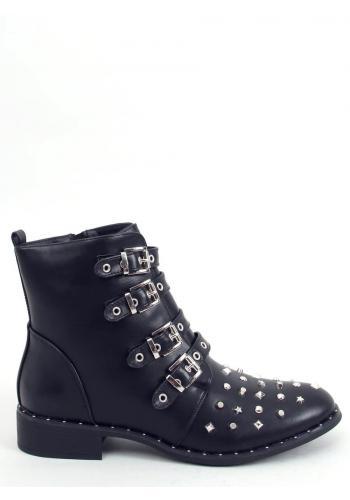 Stylové dámské boty černé barvy s vybíjením a přezkami