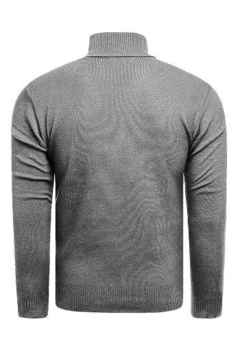 Pánský módní rolák se vzorem v tmavě šedé barvě