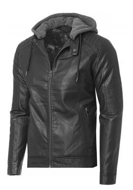 Černá kožená bunda na zimu pro pány
