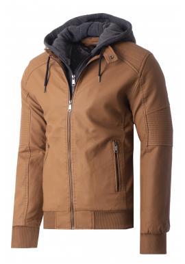 Zimní pánská kožená bunda hnědé barvy s kožešinovou podšívkou