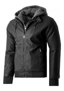 Pánská zimní kožená bunda s kožešinovou podšívkou v černé barvě
