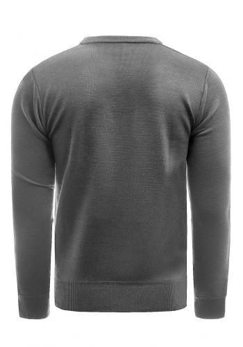 Pánský elegantní svetr s ozdobnými knoflíky v šedé barvě