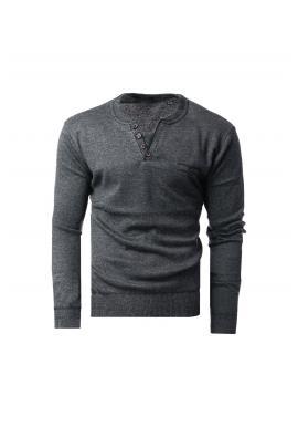 Elegantní pánský svetr tmavě šedé barvy s ozdobnými knoflíky