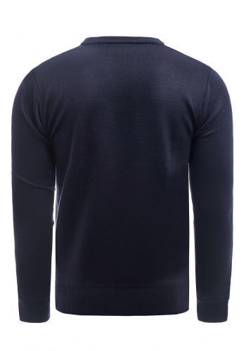 Tmavě modrý elegantní svetr s ozdobnými knoflíky pro pány