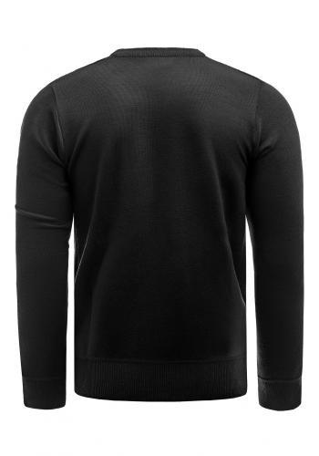 Pánský elegantní svetr s ozdobnými knoflíky v černé barvě