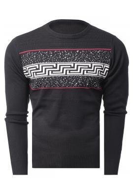 Pánský klasický svetr se vzorem v černé barvě