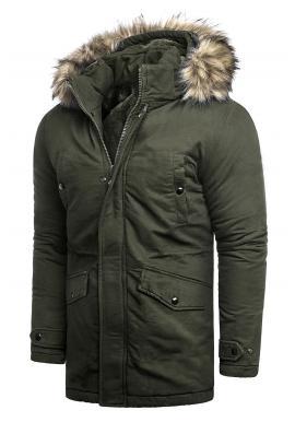 Khaki delší bunda na zimu pro pány