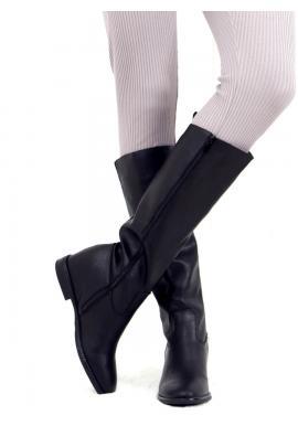 Lícové dámské kozačky černé barvy na skrytém podpatku