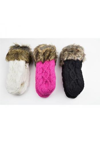 Dámské vlněné rukavice se šňůrkou v hnědé barvě