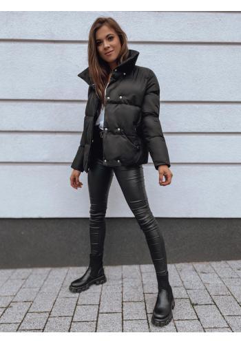 Černá přechodná bunda s límcem pro dámy