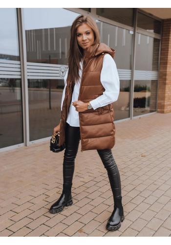 Dámská voskovaná vesta s prošíváním v hnědé barvě