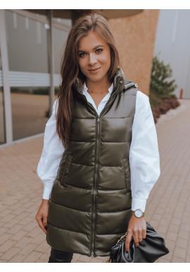 Zelená voskovaná vesta s prošíváním pro dámy