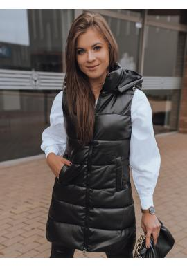 Voskovaná dámská vesta černé barvy s prošíváním